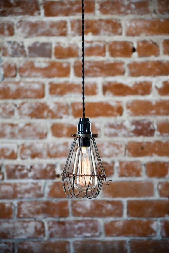 Cage Wire Hanging Pendant Light Or Desk Lamp Handmade With Plug Bakelite Switch Edison Lighting