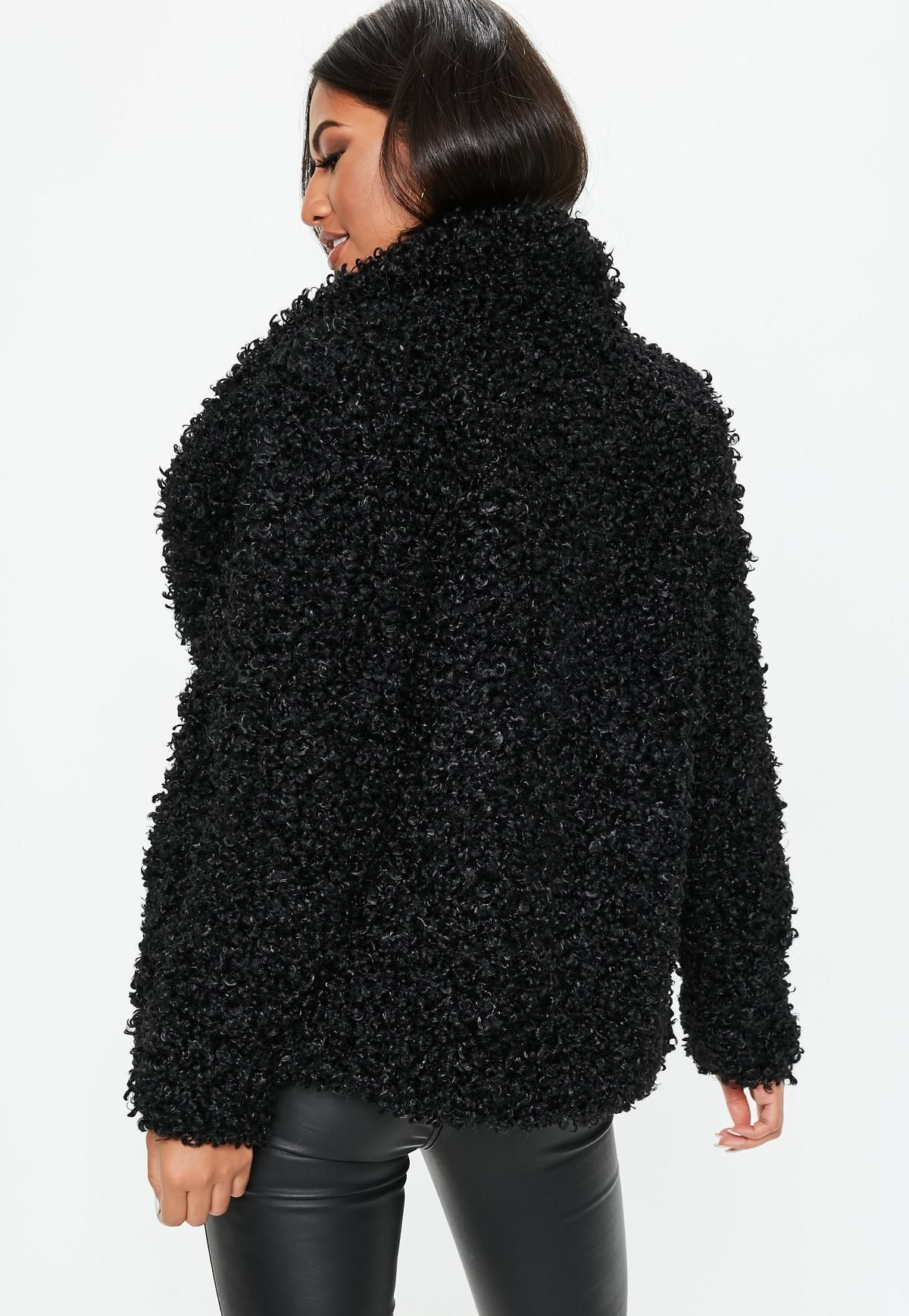 bb6abc7cb9534 Black Shaggy Waterfall Faux Fur Jacket