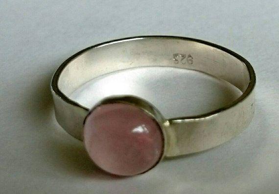 Rose quartz sterling silver ring ideal gift for her OOAK