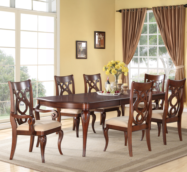 This lovely dining room set has enough room for the whole family, and more! It features the table, 4 chairs and is finished with a great cherry color.