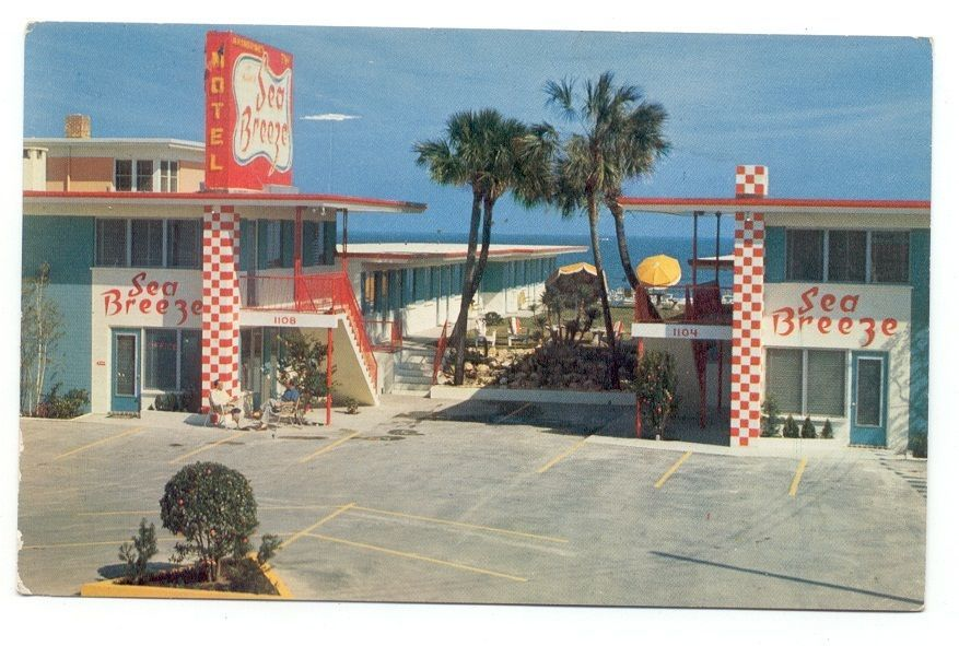 Sea Breeze Motel Daytona Beach Florida Post Card Vintage Old Hotels