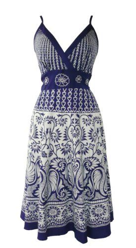 511 Heart & Floral Summer Sun Dress Blue