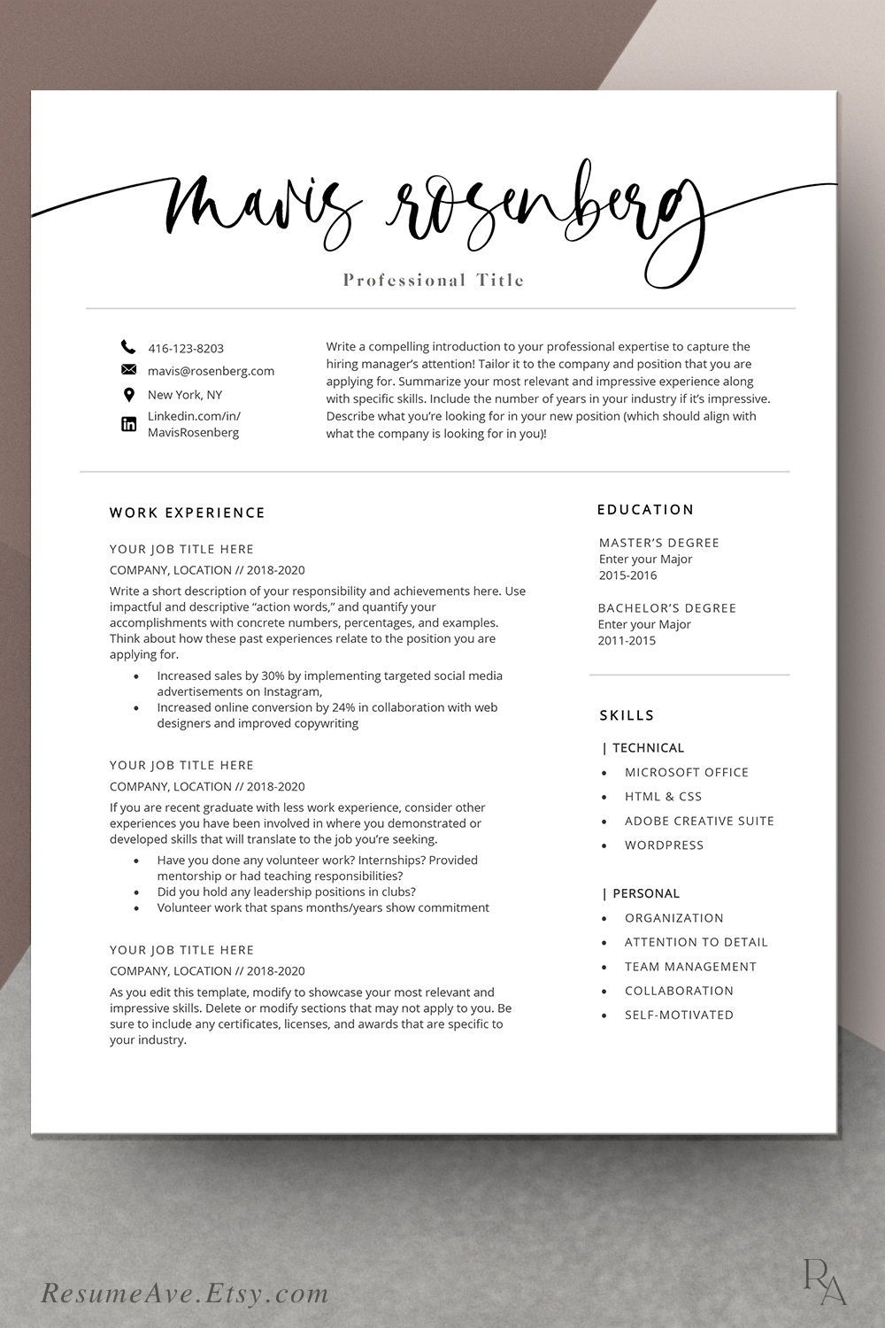 Modern Resume Template Download for Free Downloadable