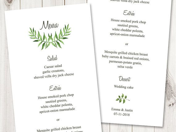 Watercolor Wedding Menu Template  - menu printable template