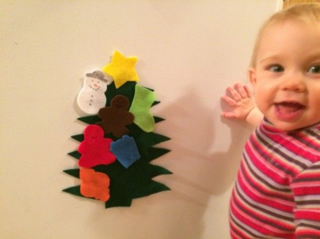 Felt Christmas Tree Decoration and Activity for Toddlers. Takes 5 minutes and costs less than $2!