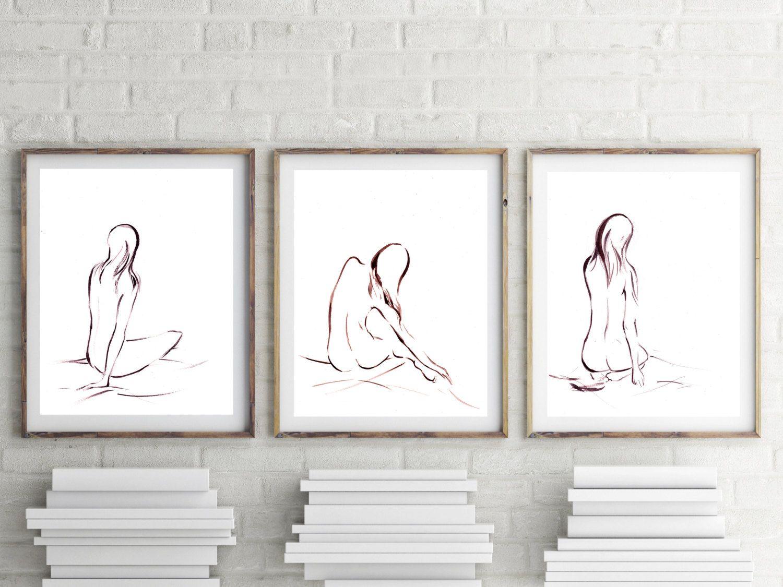 Minimalist art prints set female figure painting set of for Minimalist art images