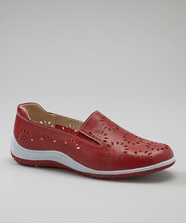 Take a look at this Red Jenna Cutout Slip-On Shoe by CC Resorts on #zulily today!