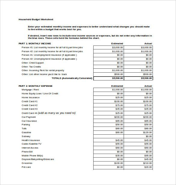 Household Budget Spread Sheet Excel Template Free  Budget