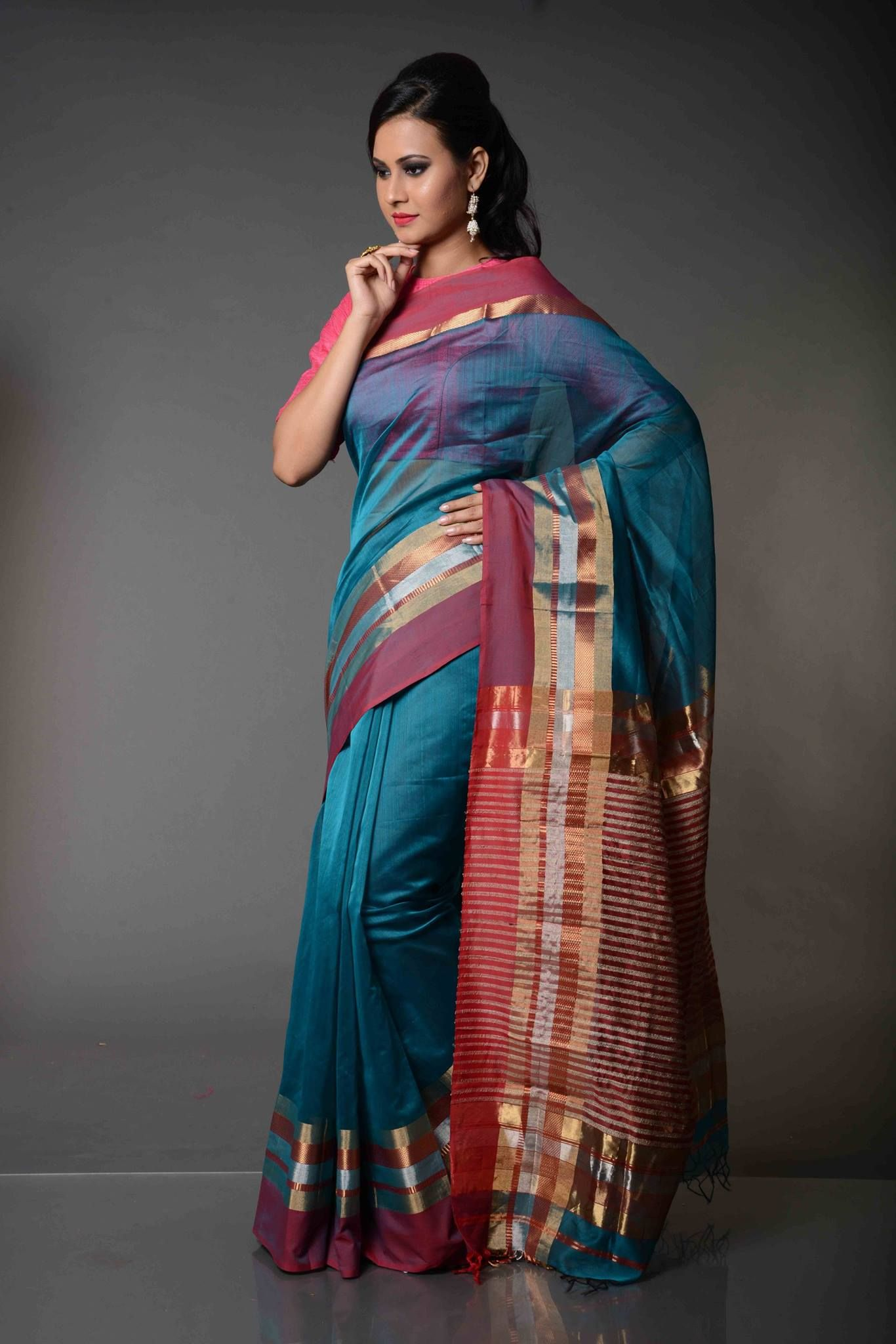 Chanchal Striped Pallu Maheshwari Silk Cotton Saree