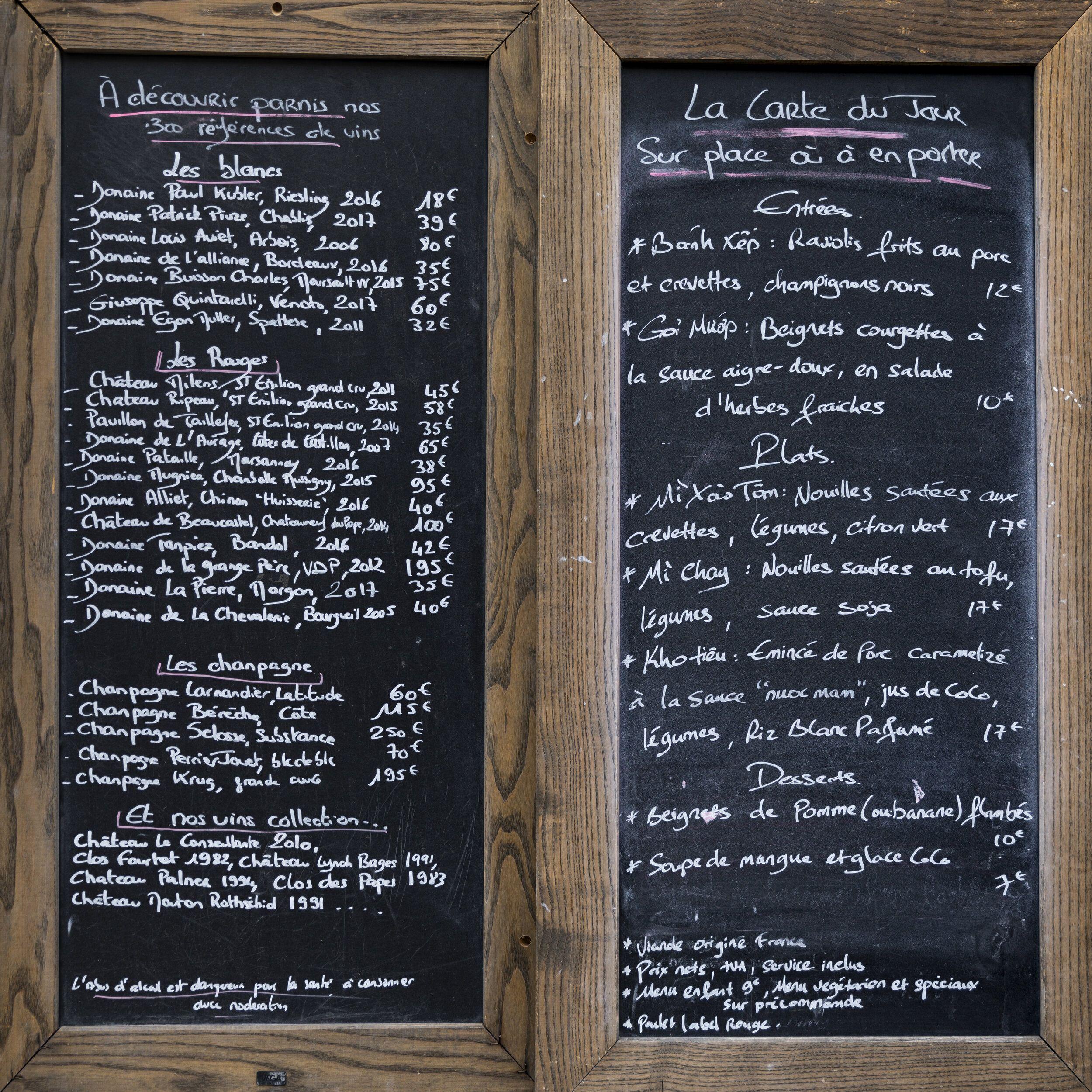Wine And Food Chalkboard Menu Print Parisian Moments In 2020 Chalkboard Menu Paris Wall Art Cafe Wall