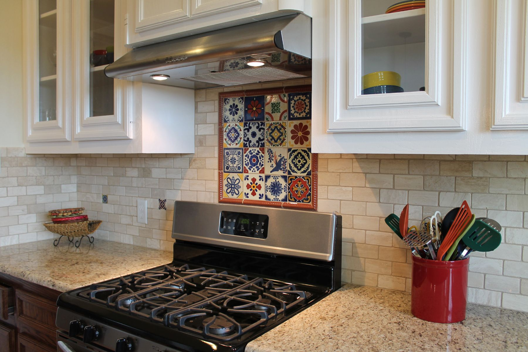 - Spanish-style #kitchen Backsplash With Talavera Tile And