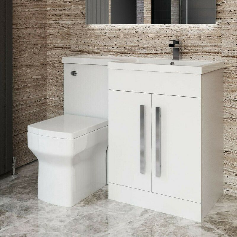 Toilet Bidet Combination Vanity, White vanity unit, Bathroom