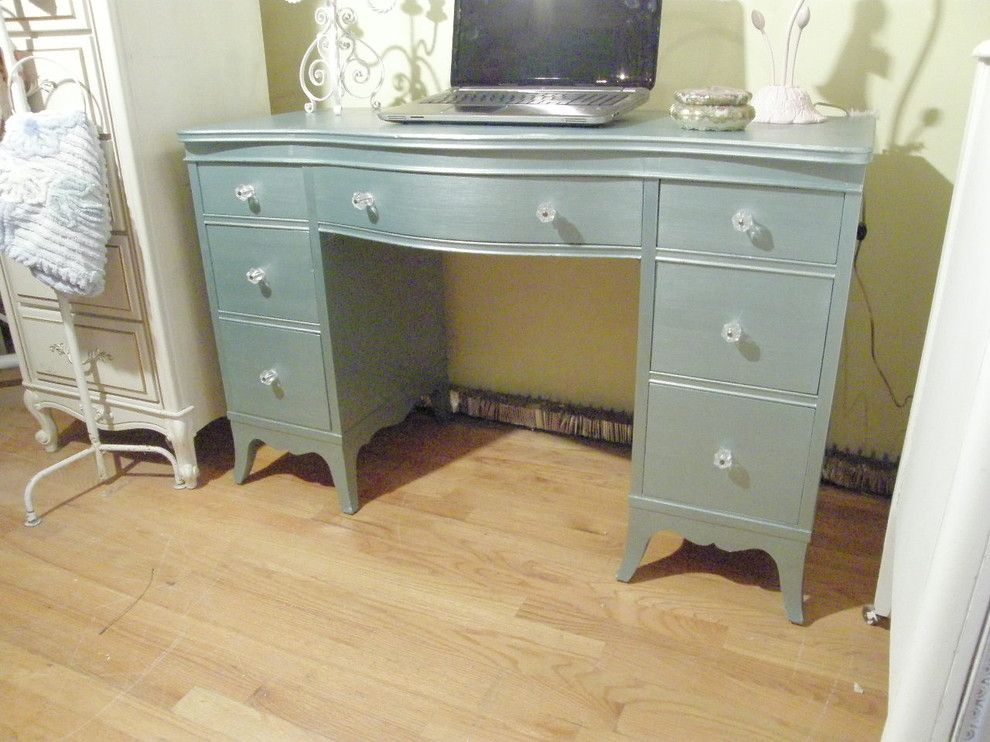 shabby chic furniture nyc. Vintage Desk In Metallic Blue Chic - Eclectic Furniture New York Donna Shabby Nyc