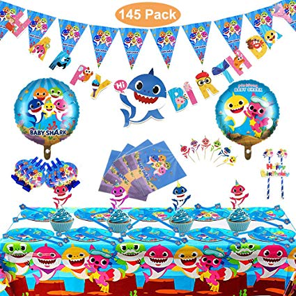 Baby Party Supplies Set Birthday Parties Decorations shark blue 145 pcs