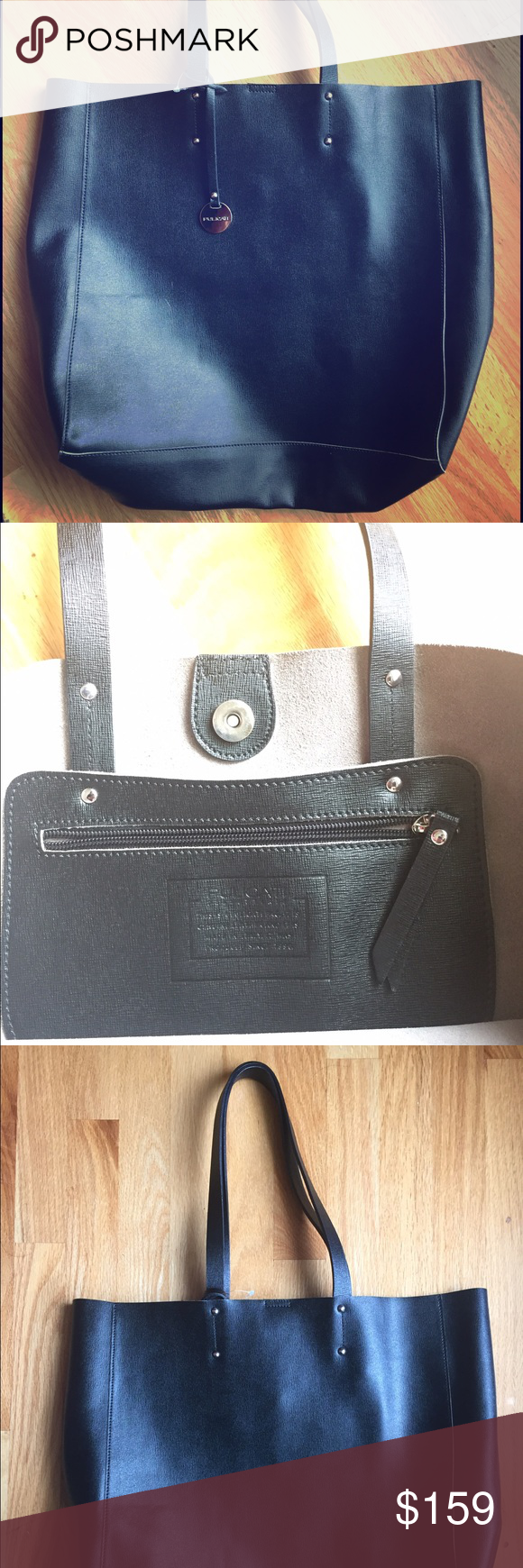 f8d274181f Pulicati large black soft leather tote