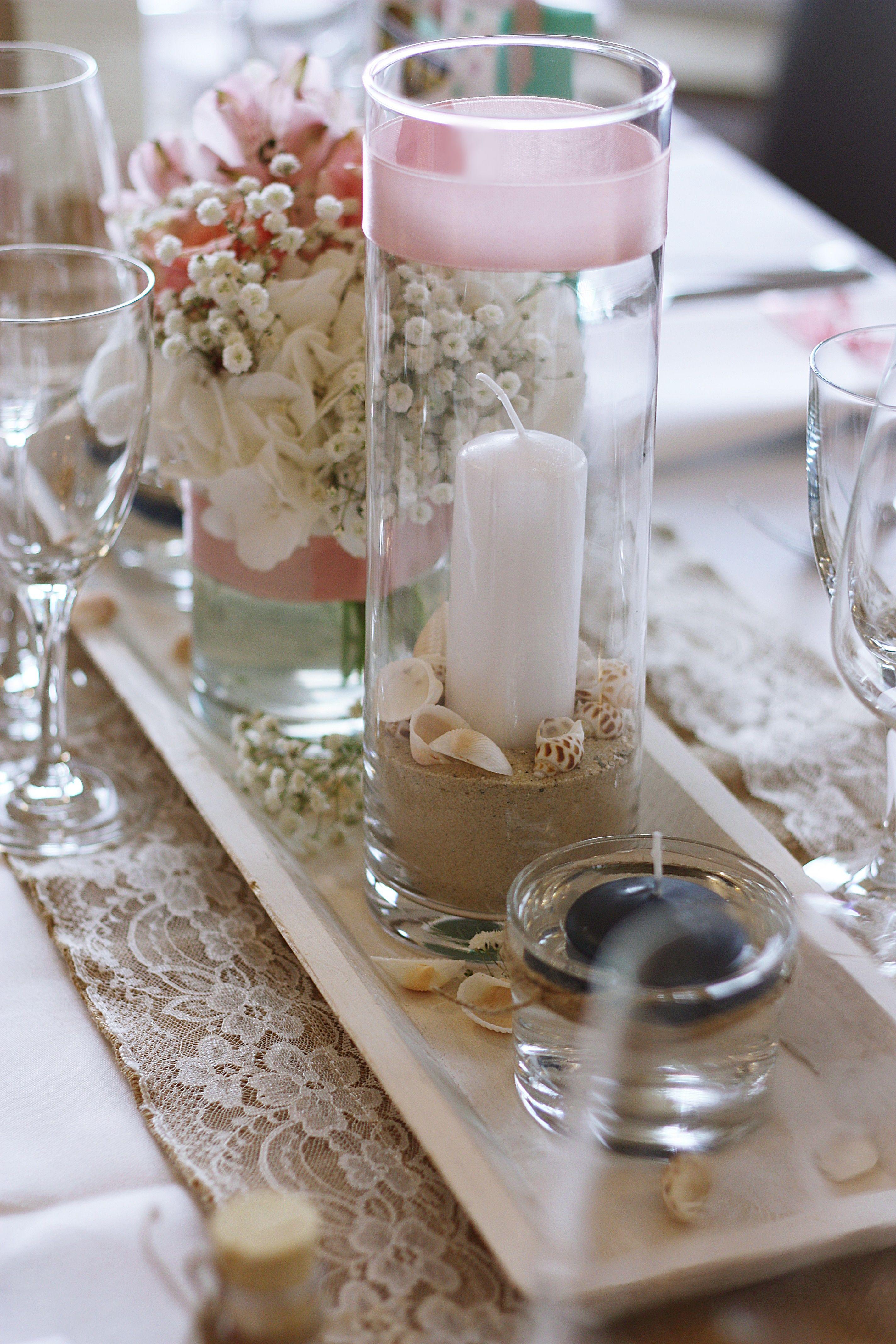 Tischdekoration Maritim Vintage Rosa Sand Muscheln Schwimmkerze Stumpenkerze Juteläufer Holztablett Hortens Schwimmkerzen Tischdekoration Vintage Hochzeit Deko