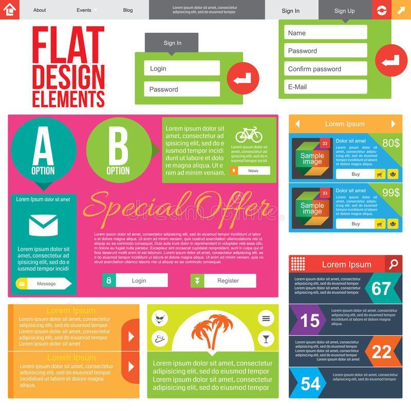 Flat Web Design Elements Buttons Icons Templates For Website Iconos De Redes Sociales Referencia De Diseno Diseno Web
