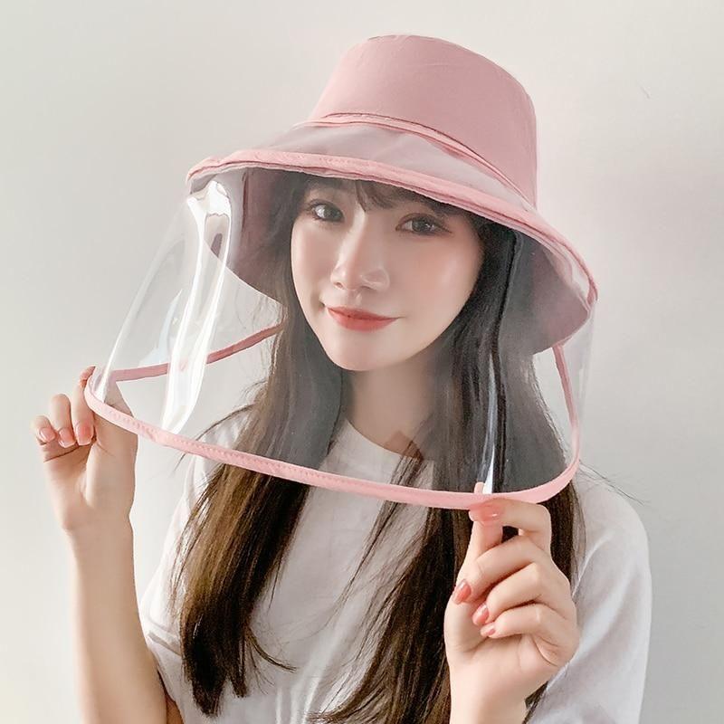 Panama Unisex Summer Anti Saliva Big Brim Transparent Tpu Protection Removable Fisherman Hat Sun Cap In 2021 Hats Face Shield Face Shields
