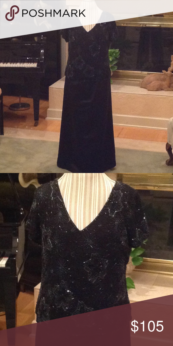 70374b9c6a07c Evening top and skirt Beautiful black beaded top with a wonderful long silk  skirt. Ready