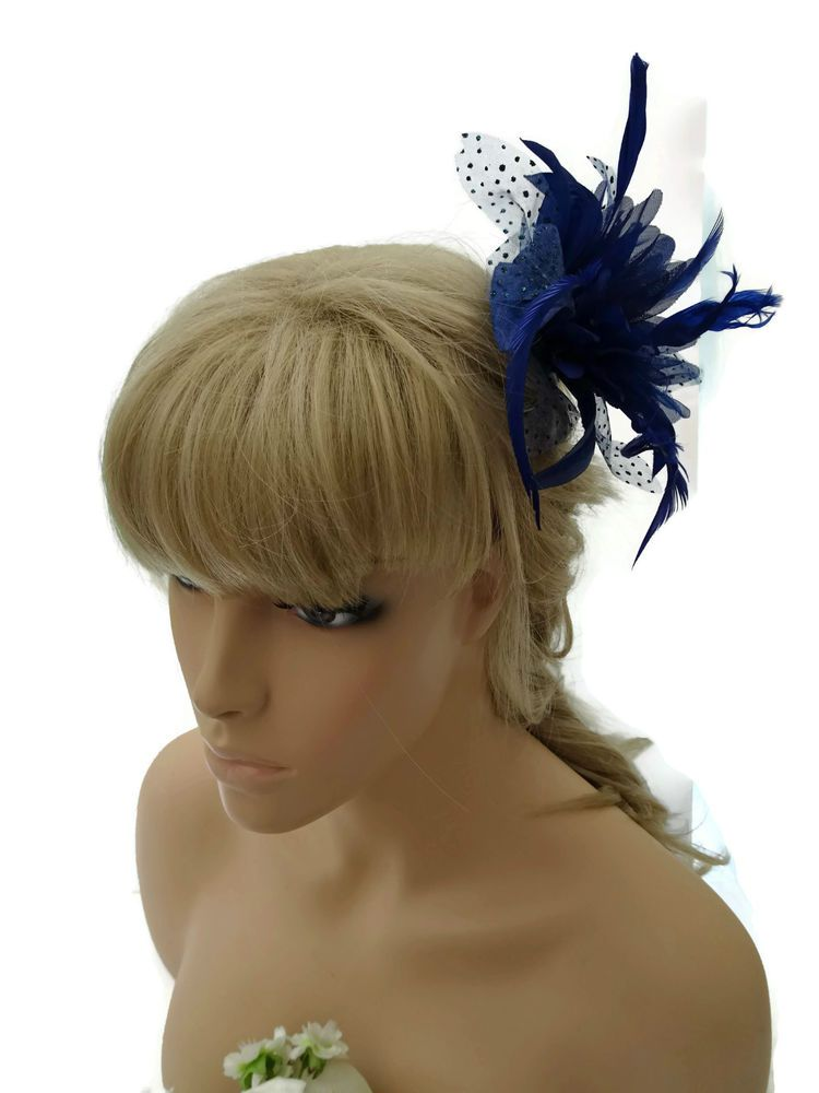 Pretty Blue Hair Flower Fascinator on a Hair Comb Slide with spotty net