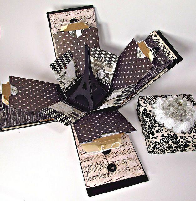 paris explosion box my scrap world crafty side pinterest box schachteln und schachtel. Black Bedroom Furniture Sets. Home Design Ideas