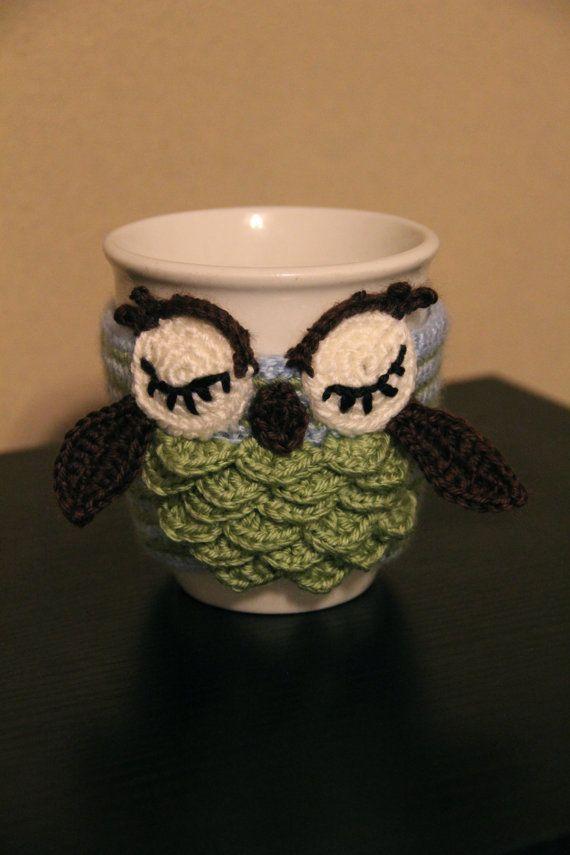 Crochet Owl Mug Cozy Crochet Owl Cozy Crochet Owl by MrsVsCrochet ...