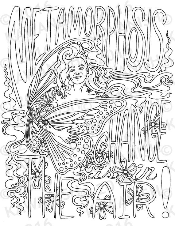Metamorphosis Change Is In The Air Adult Coloring Page Wall