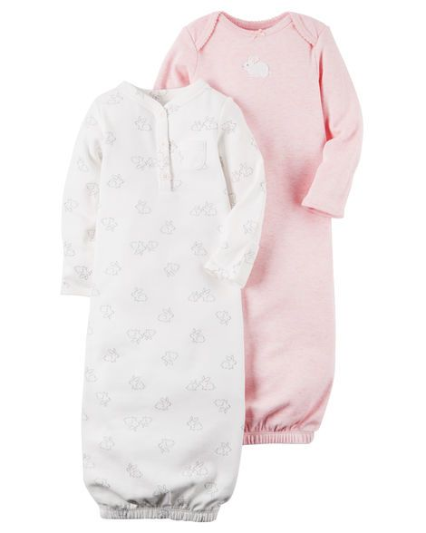 4e8420877 Baby Girl 2-Pack Babysoft Heathered Sleeper Gowns from Carters.com. Shop  clothing & accessories from a trusted name in kids, toddlers, and baby  clothes.
