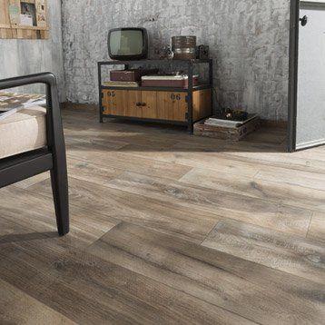 Carrelage sol et mur brun fonçé effet bois Heritage l20 x L80 cm