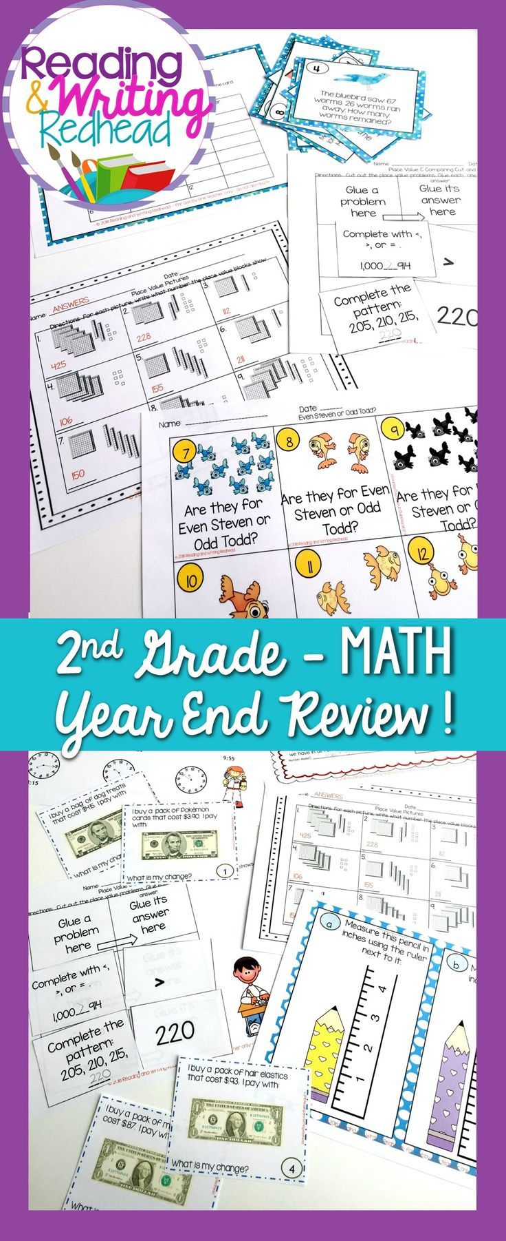 Second Grade End of Year Mega Math Review | Ccss standards, Math and ...
