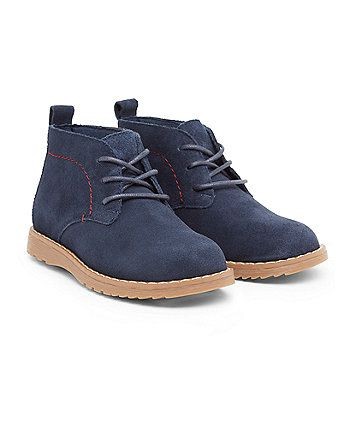 Navy Leather Desert Boots