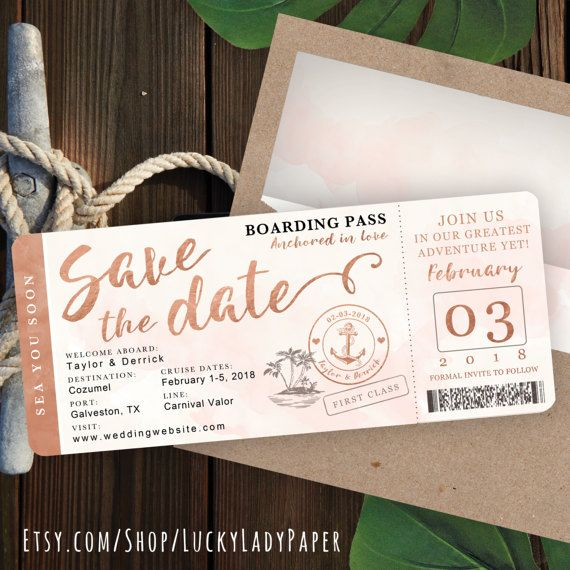 Destination Wedding Boarding Pass Save The Date Invitation In Rose