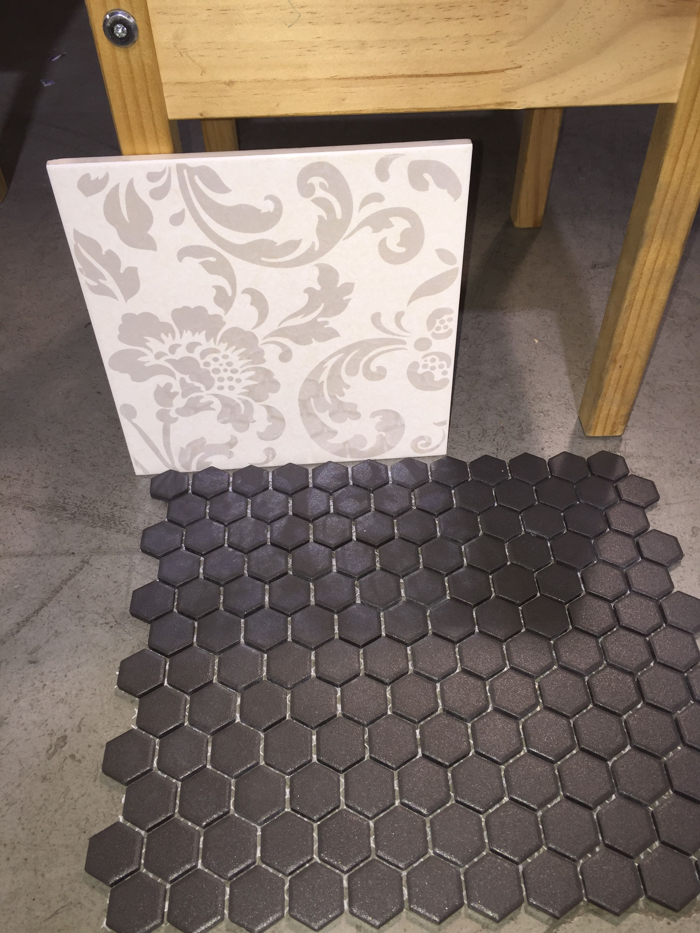 small hexagon floor tiles - need to buy. I have the damask wall tile ...
