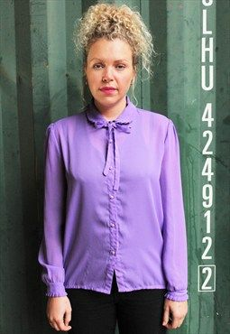 Vintage 1970s Sheer Lilac Blouse with round collar