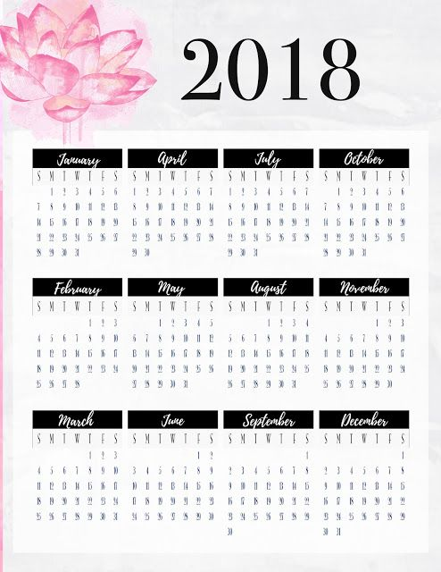 free year at a glance planner insert printable pink grey and black httpwwwmalenahaascom201712freebie friday 2018 year at glancehtml