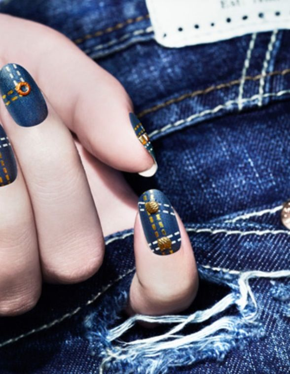 Great Denim And Gold Nail Art With Ripped Jeans By Addition Elle