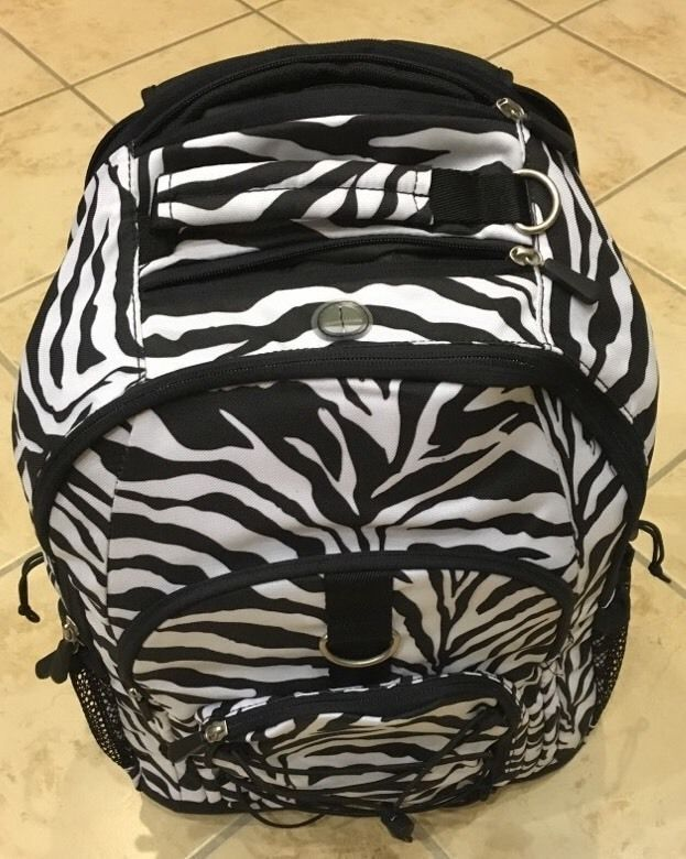 PB Teen Gear Up Black White Zebra Rolling Backpack New Without ...