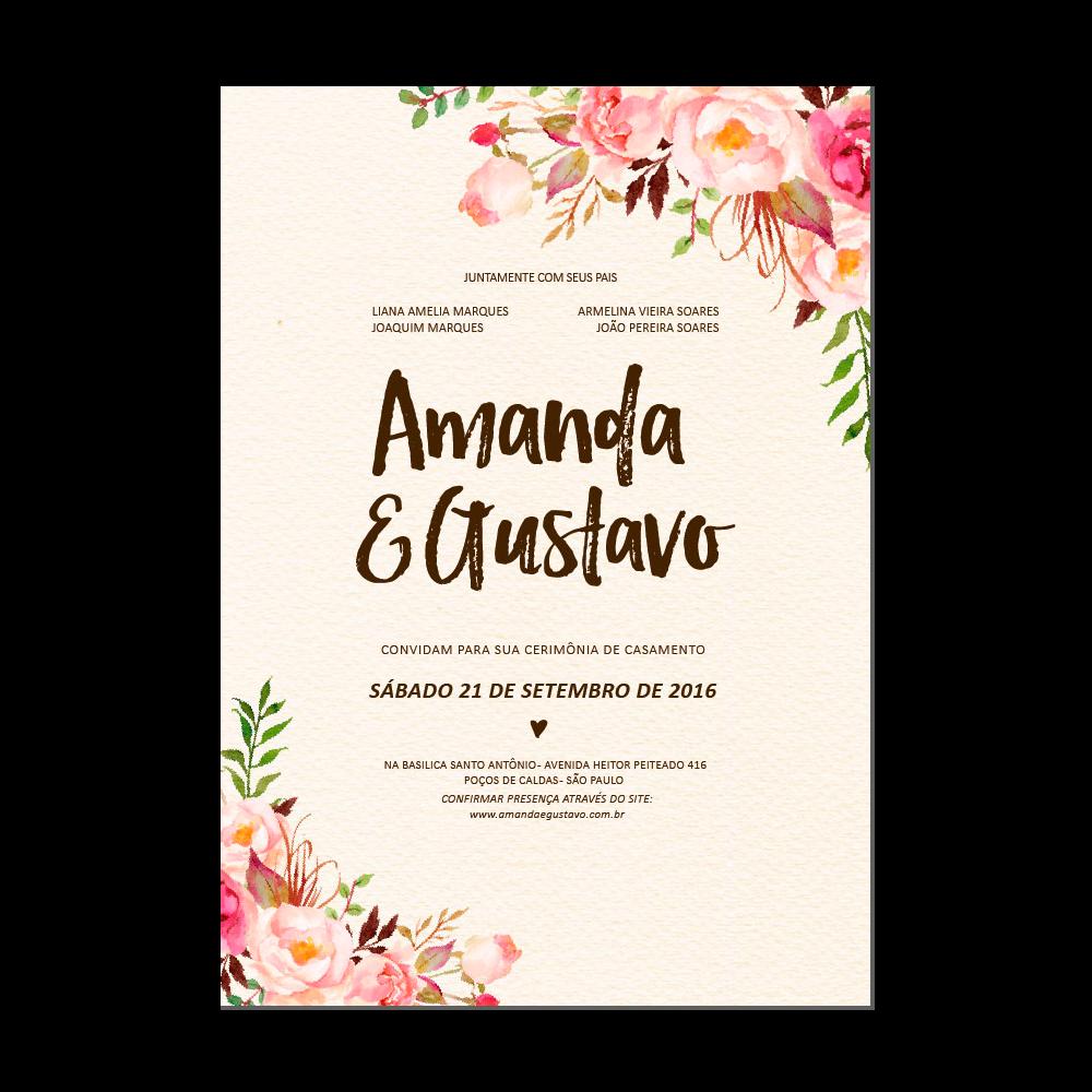 Vector Flores Convites Convites Casamento Casamento Png E: Convite De Casamento - Floral Rústico ST8970