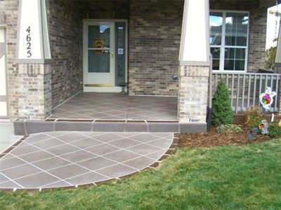 Front Porch With Concrete Overlay Spray Highlights And Taped Tile Pattern