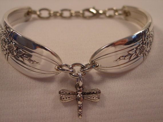 Beautiful Spoon Bracelet With Dragonfly Charm by by SpoonRingsPlus, $24.00