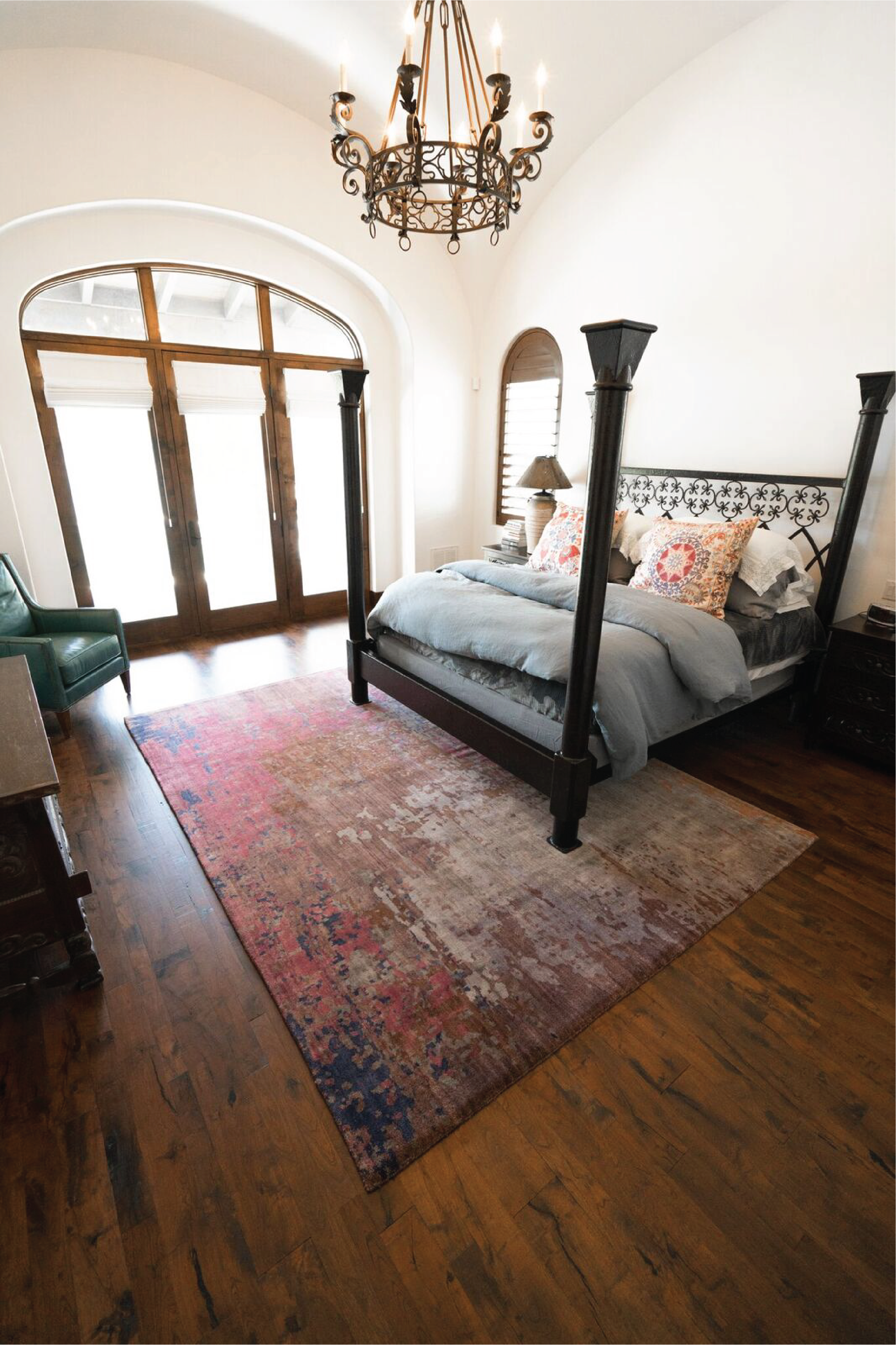 Spanish Style Bedroom Mesquite Hardwood Floors Colorful Area Rug Spanish Style Bedroom Spanish Style Hardwood Design