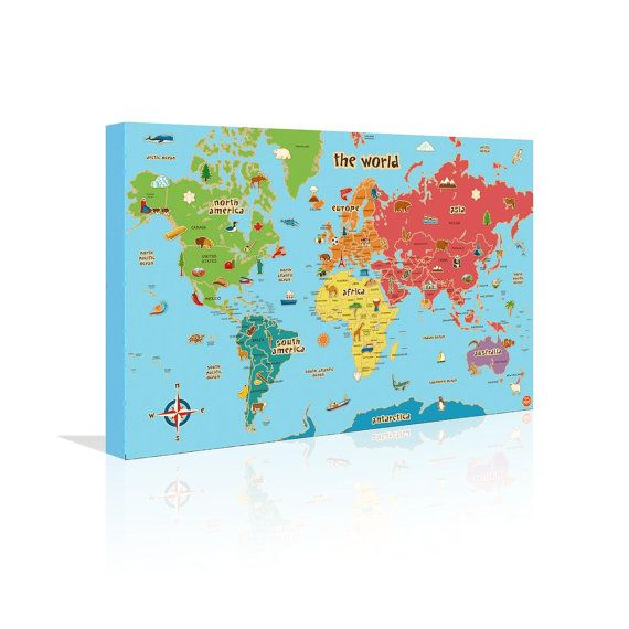 Childrens World Map Canvas X X Wall By BlueIvoryLane - Childrens wall map