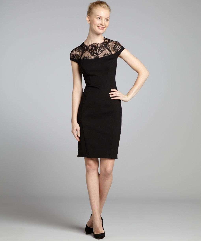 A.B.S. by Allen Schwartz black cap sleeve lace trim dress 319097701 ...