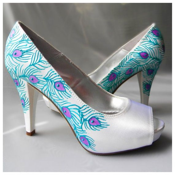 Wedding Shoes Peacock Feather Turquoise Purple Ivory 22500 Via Etsy