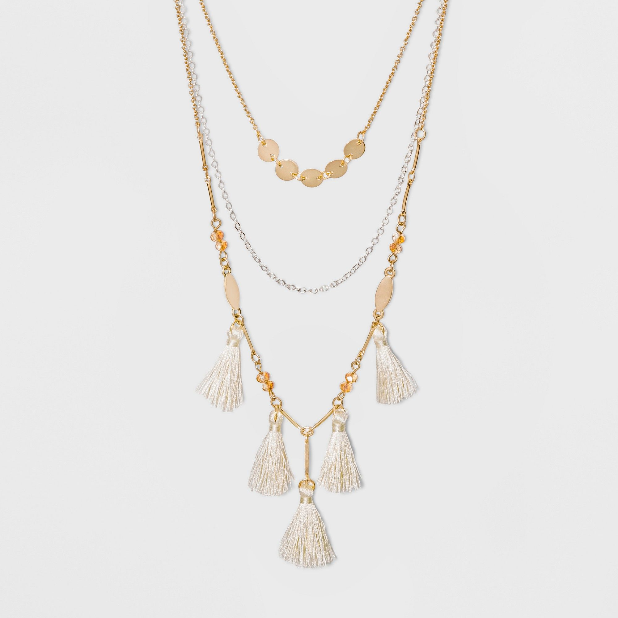 81fb96d4988ee petiteThree Rows and Tassels Short Necklace - A New Day Gold ...
