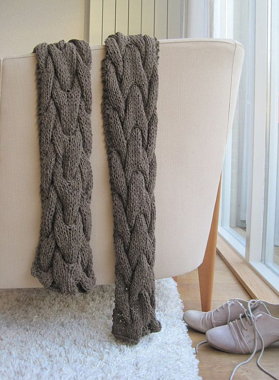 Chunky cable knit scarf unisex brown by woolpleasure on Etsy, $70.00