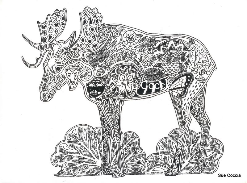 Moose Strength Self Esteem Maturity Animal Spirit Tangle Unique Coloring Page
