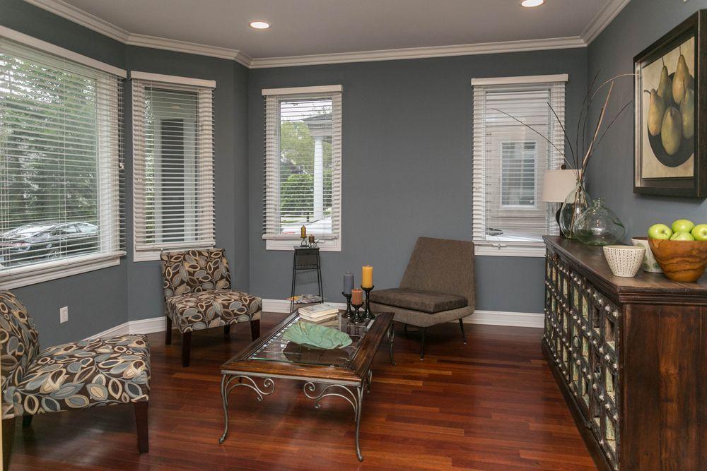 Transitional Living Room with Brazilian Cherry Hardwood