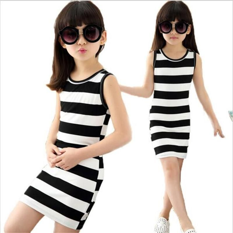 0f4ef5061ee5 2017 Girls dresses in black and white stripes 100% Cotton kids ...