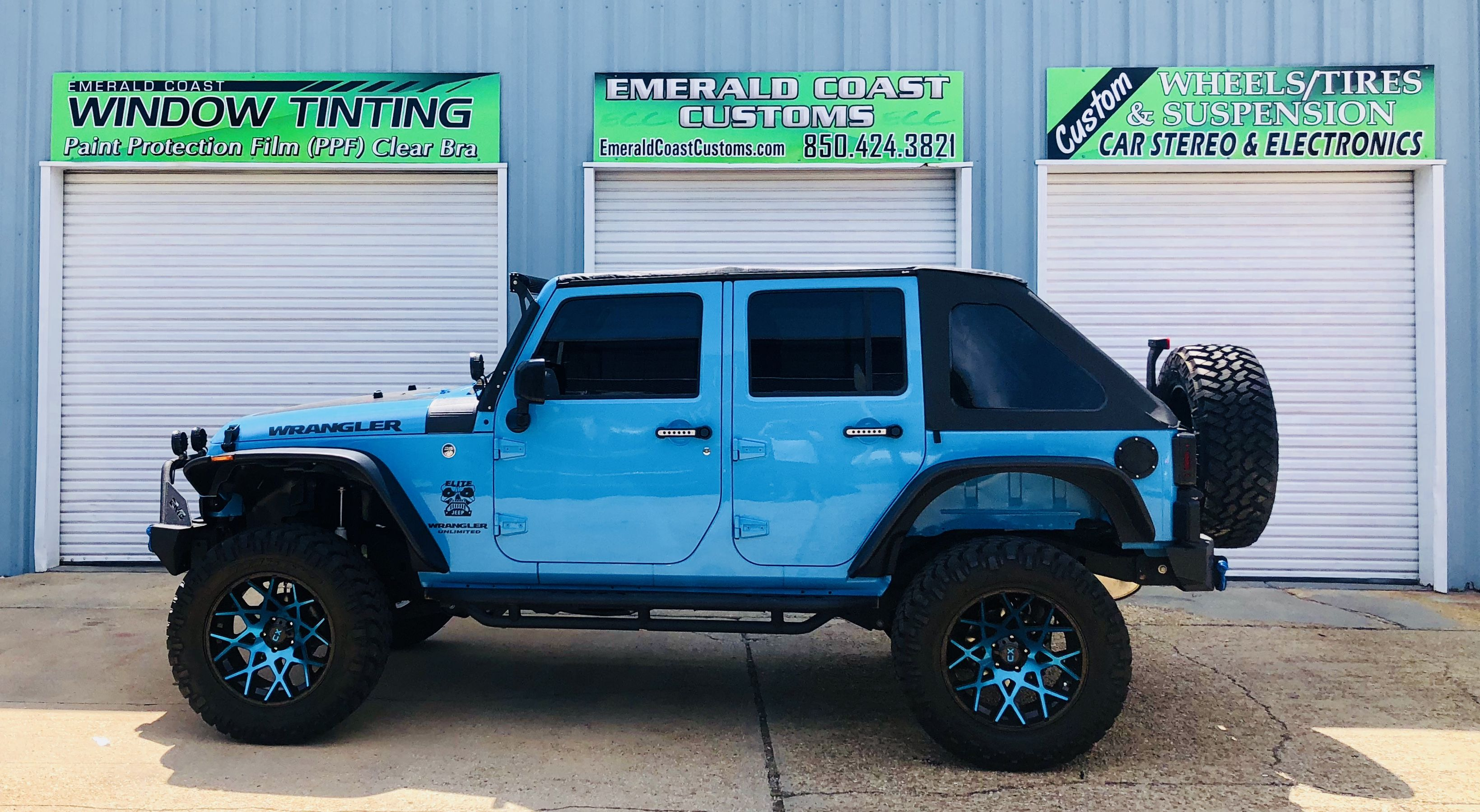 Baby Blue Jeep Wrangler Suntek Window Tint Cooled This Beautiful Jeep Right Down Blue Jeep Wrangler Blue Jeep Rubicon Blue Jeep